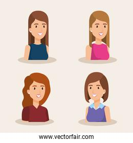 group of women avatars characters