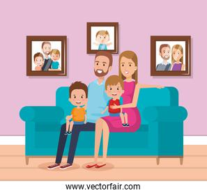 cute family happy in the living room characters