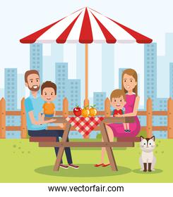 cute family happy in the picnic day characters