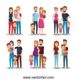 set cute family happy characters