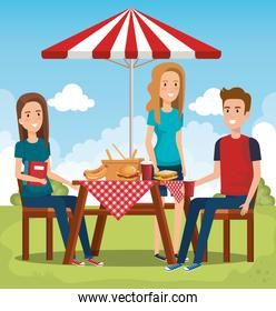 young people in picnic day scene