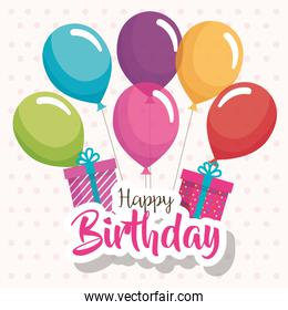 happy birthday balloons air and gift celebration card