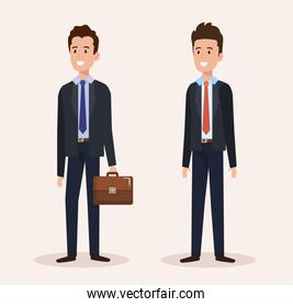 group of smiling businessmen avatars characters
