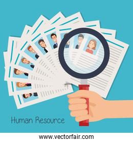set curriculum vitae with hand and magnifying