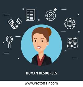 businesswoman with human resources set icons