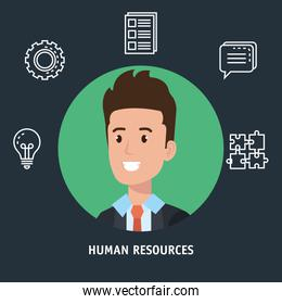 businessman with human resources set icons