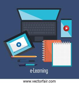 electronic education with laptop