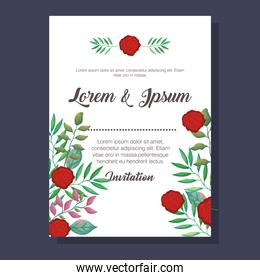 flowers and leafs invitation card