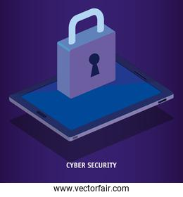 isometric tablet and padlock cyber security