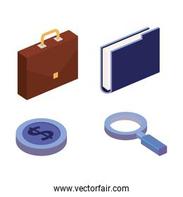 business concept isometric set icons