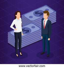 finacial transaction with business people isometric
