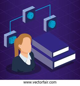 data center technology and business person isometric