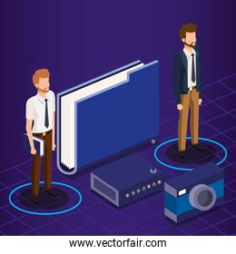 digital technology with business people isometric
