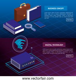 digital technology and business concept isometrics icons