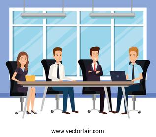 business people in the boardroom isometric avatars