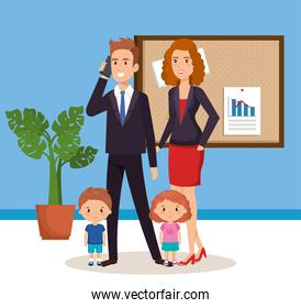 business couple with children isometric avatars
