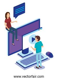 digital technology with teamwork people isometric