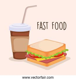 delicious sandwich with coffee
