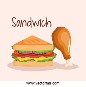 delicious sandwich with chicken drumstick fast food