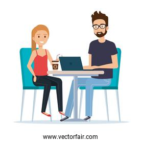 young couple in the workplace avatars characters