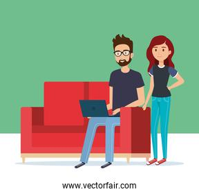 young couple in the sofa avatars characters