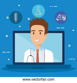 laptop with doctor character and telemedicine icons