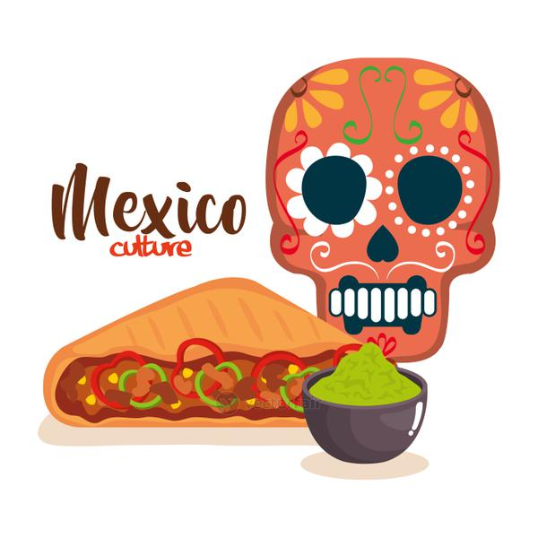 day of the dead mask with mexican food