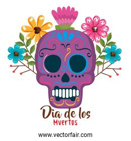 day of the dead mask with floral decoration