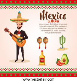 mexican mariachi with set icons character