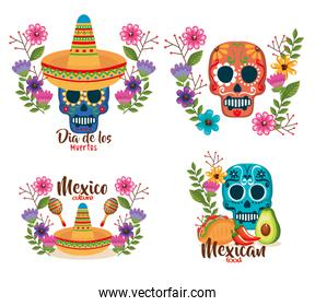 day of the dead masks with floral decoration