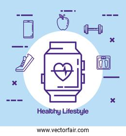 smartwatch with fitness and healthy lifestyle icons