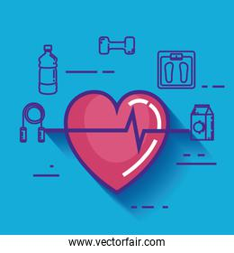 heart cardio with healthy lifestyle icons