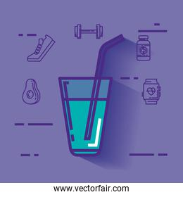 water glass with healthy lifestyle icons