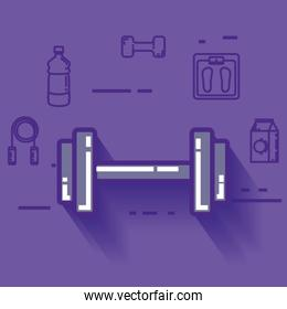 dumbell with healthy lifestyle icons