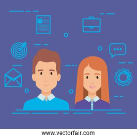 business couple with social media marketing icons