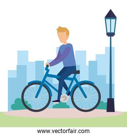 young man on bicycle character