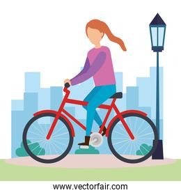 young woman on bicycle character