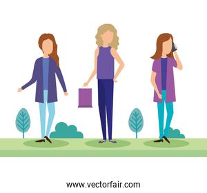young women with shopping bag in the park