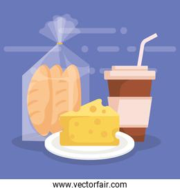 cheese with bread bag and coffee