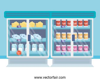 supermarket refrigerator with products