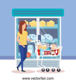 woman with shopping cart and products