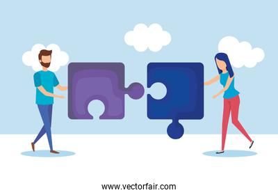 people with puzzle vector illustration design vector illustrator