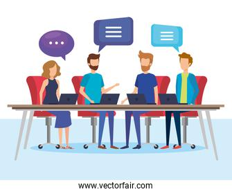 business people with speech bubbles in office vector illustration