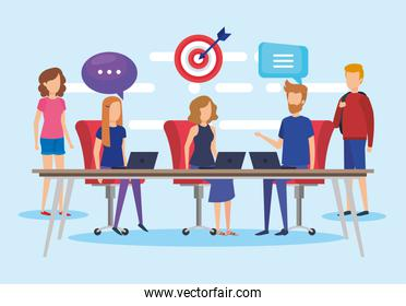 group of people working in the office vector illustration