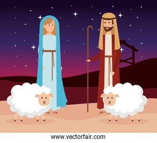 holy family with sheeps manger characters