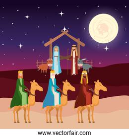 wise kings in camels manger characters