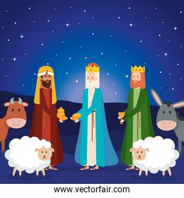 wise kings and animals manger characters