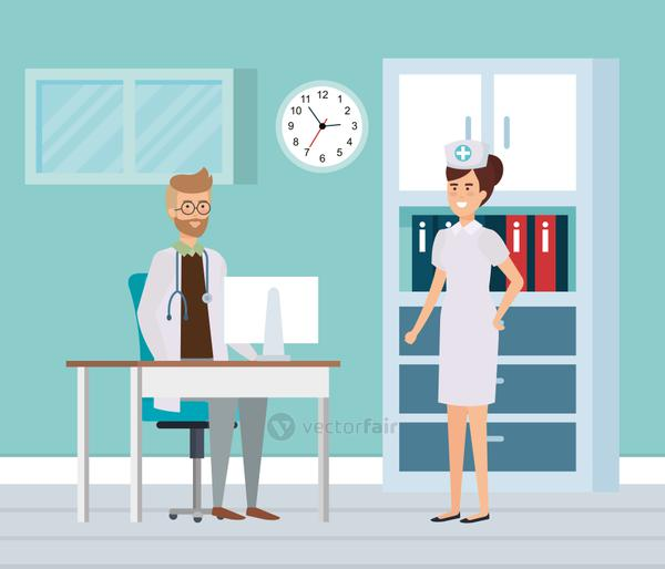 doctor with nurse in consulting room