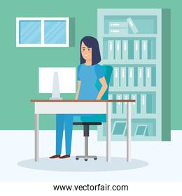 general practitioner in consulting room