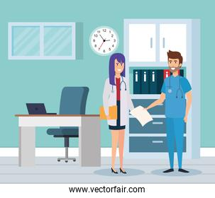female doctor and practitioner in consulting room